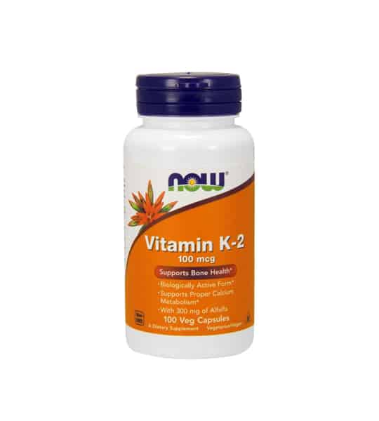 White container with blue cap and orange label of Now Vitamin K-2 100 mcg supports bone health contains 100 veg capsules