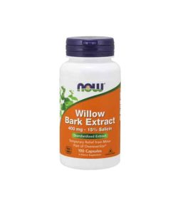 White container with blue cap and orange label of Now Willow Bark Extract 400 mg - 15% Salicin Standardized Extract contains 100 capsules