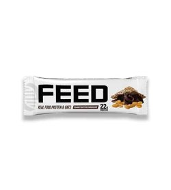 White pouch of Nutrabolics FEED protein bar with Peanut Butter Chocolate flavour contains 22 g protein