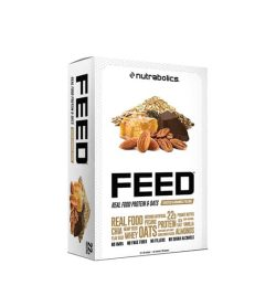 White box of Nutrabolics FEED Real Food Protein & Oats contains 22 g protein shown in white background