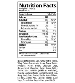 Nutrition facts and ingredients panel of Nutrabolics FEED Protein Bar for serving size of 1 bar (65 g) with 12 bars per box