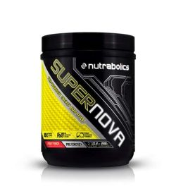 Black and yellow container with black lid of Nutrabolics Super Nova Pre-Workout Energy Amplifier with Fruit Punch flavour