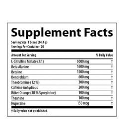 Supplement facts panel of Nutrabolics Supernova for serving size of 1 scoop (14.4 g) with 20 servings per container