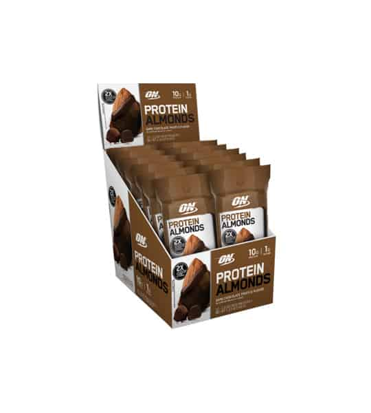 Brown and white box of 12 ON Optimum Nutrition Protein Almonds Dark Chocolate Truffle flavour