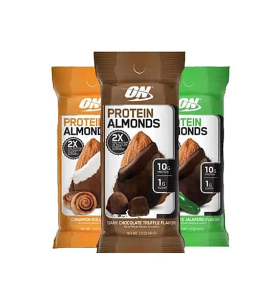 ON Optimum Nutrition Protein Almonds brown, orange and green pouches each different flavour Dark Chocolate Truffle, Cinnamon Roll and Jalapeno