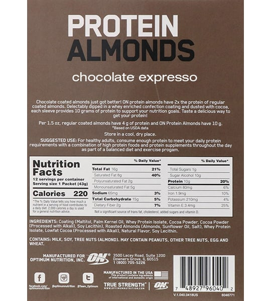 Nutrition facts and ingredients panel of Optimum Nutrition Protein Almonds Chocolate Espresso for serving size of 1 packet (43 g) with 12 servings per container