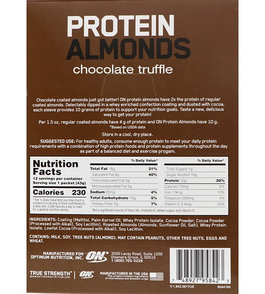Nutrition facts and ingredients panel of Optimum Nutrition Protein Almonds Chocolate Truffle for serving size of 1 packet (43 g) with 12 servings per container