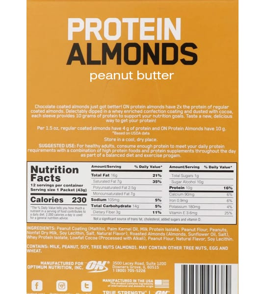 Nutrition facts and ingredients panel of Optimum Nutrition Protein Almonds Peanut Butter for serving size of 1 packet (43 g) with 12 servings per container