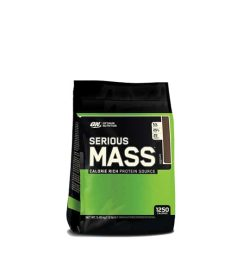 A black and green bag of ON Optimum Nutrition Serious MASS calorie rich protein source with 1250 calories