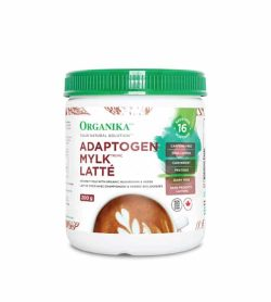 White container with green lid and brown text of Organika Adaptogen Mylk Latte containing 200 g