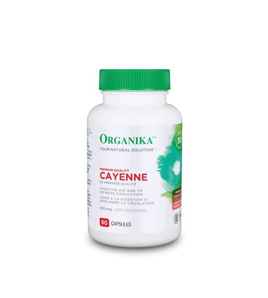 White bottle with green lid and red text of Organika Your Natural Solution Premium Quality Cayenne containing 90 capsules