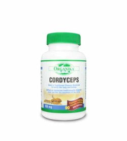 White bottle with green lid of Organika Cordyceps 200 mg containing 90 capsules shown in white background