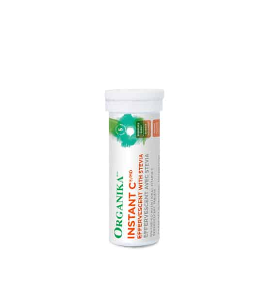 White container in white background of Organika Instant C Effervescent With Stevia