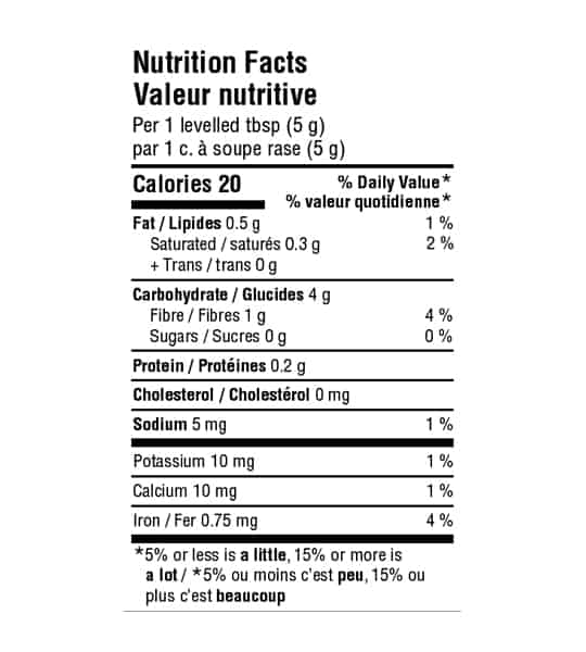Nutrition facts panel of Organika Plant based collagen booster showing black text in white background