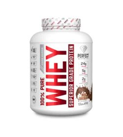 White container with white lid of Perfect Sports 100% Pure Whey Superior Grade Protein with Milk Chocolate flavour