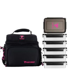 Black and pink Performa Matrix Meal Prep Bag for 6 meals shown with containers in white background