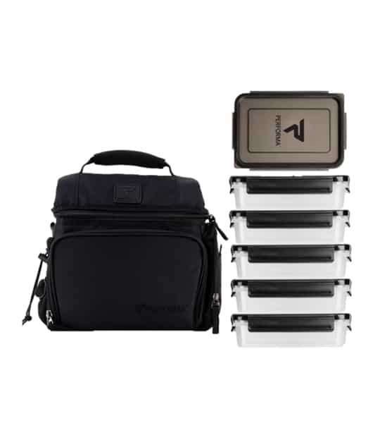 Black and grey Performa Matrix Meal Prep Bag for 6 meals shown with containers in white background