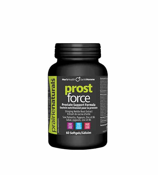 Black bottle with black cap of Prairie Naturals Prost Force Prostate Support Formula contains 60 softgels