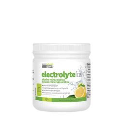 White and green container with white lid of Praire Naturals Sport Electrolyte Fuel containing 252 g shows lemon picture on package