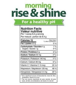 Nutrition facts panel of Prarie Naturals Morning Rise & Shine for serving size 1 scoop (8.4 g)