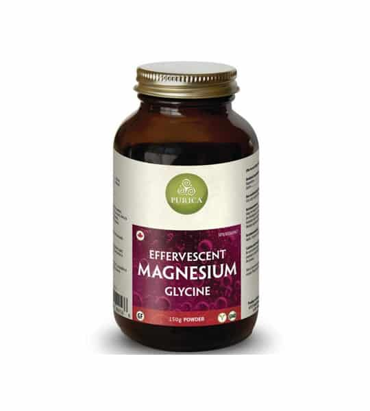 Brown bottle with shiny lid of Purica Effervescent Magnesium Glycine containing 150 g powder