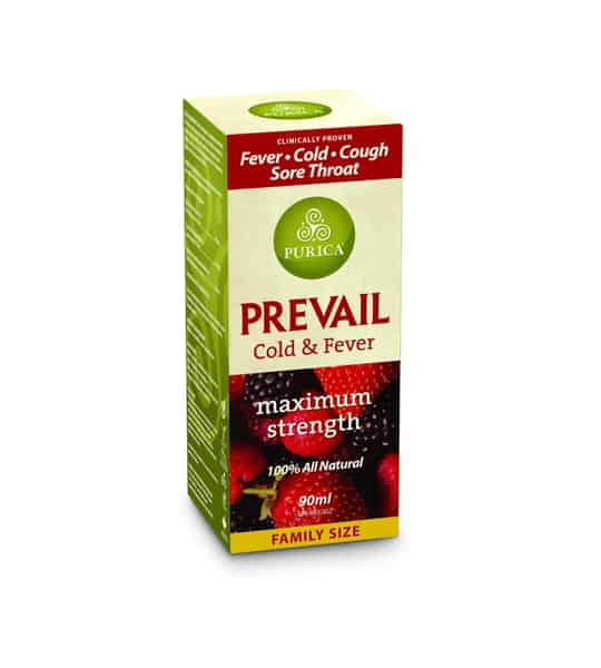 Green and red box of Purica Prevail Cold & Fever maximum strength 100% all natural family size contains 90 ml