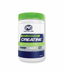 White, blue and green container with green lid of PVL 100% Creapure Creatine contains 410 g