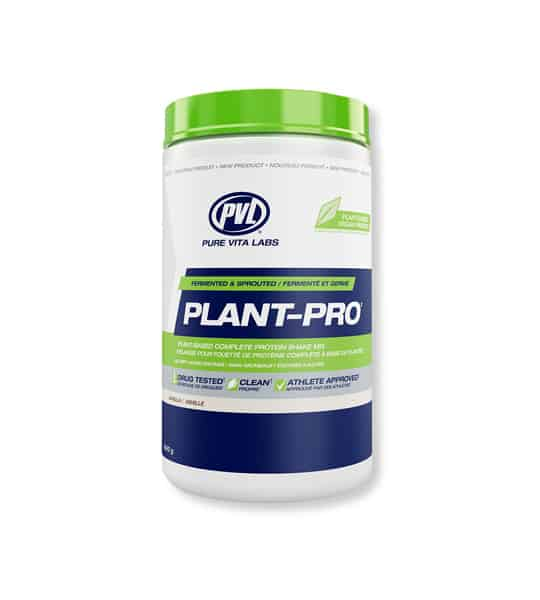 White, blue and green container with green lid of PVL Pure Vita Labs Plant-Pro contains 840 g dietary supplement