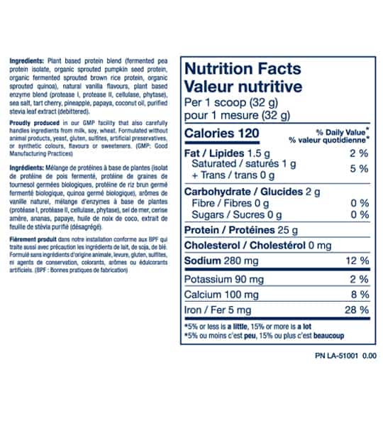 Nutrition facts and ingredients panel of PVL Plant Pro Fermented Sprouted Protein for serving size of 1 scoop (32 g)