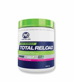 White, blue and green container with green lid of PVL Post Workout Total Reload contains 600 g
