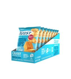 Blue box open showing 8 bags of Quest Original Style Protein Chips with cheese and chips picture on the bags
