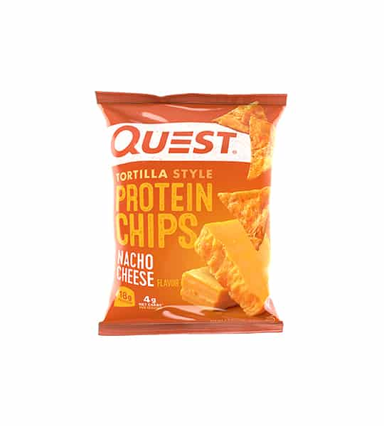 Orange bag of Quest Tortilla Style Protein Chips with Nacho Cheese flavour showing cheese and chips on the package