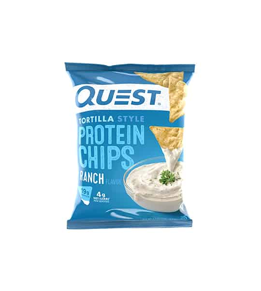 Blue bag of Quest Tortilla Style Protein Chips with Ranch flavour showing ranch dip and chips in the package