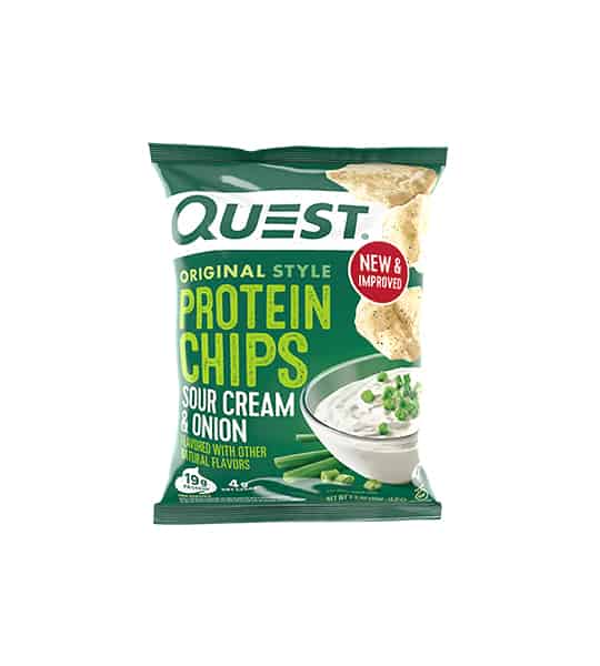 Green bag of Quest Original Style Protein Chips with Sour Cream & Onion flavour showing dips and chips on the package