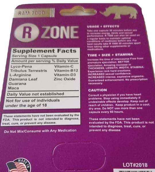 Supplement Facts and Ingredients panel of Ram7000 R Zone with serving size 1 capsule