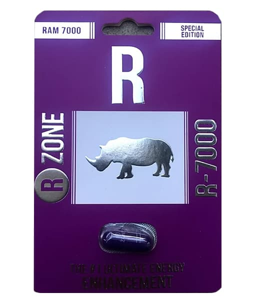 Purple package showing 1 capsule of Ram7000 R Zone R-7000 with a rhino picture