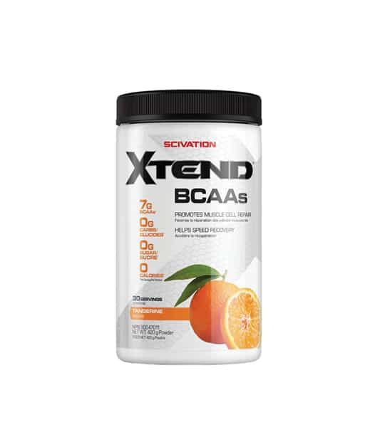 Silver container with black cap of Scivation Xtend BCAAs containing 30s showing oranges on package