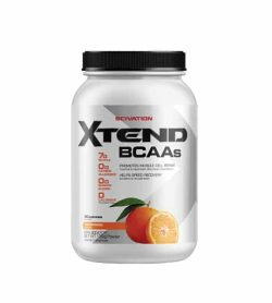Silver container with black cap of Scivation Xtend BCAAs showing oranges on package