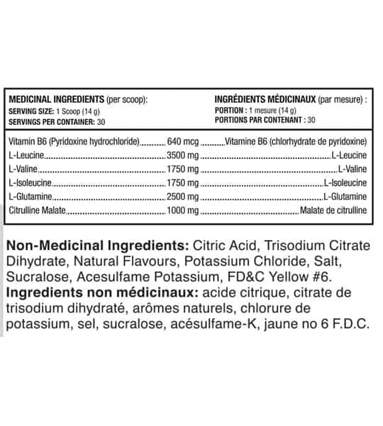 Ingredients panel of Scivation Xtend showing Medicinal and non-Medicinal ingredients for serving size 1 scoop (14 g)