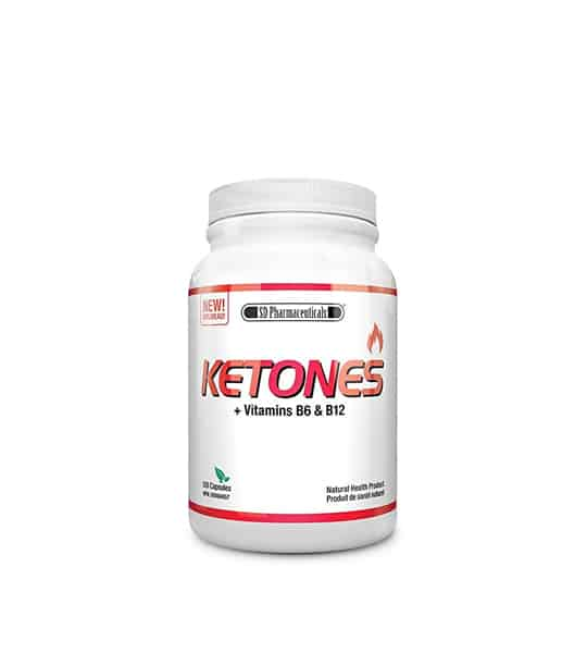 White container with white lid of SD Pharmecuticals Ketones + Vitamins B6 & B12 contains 120 caps