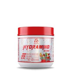 White container with red cap of TC Hydramjno EAAs with Fruit Punch flavour contains 45 servings