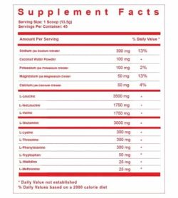 Supplement facts panel of TC Nutrition Hydramino EAA for serving size of 1 scoop (13.5 g) with 45 servings per container