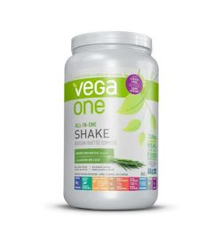 White and green container with white cap of Vega One All In One Shake Stevia Free contains 860 g