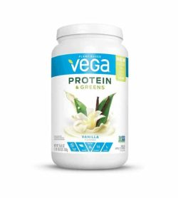White and blue container with white lid of Vega Plant based Protein & Greens with Vanilla flavour