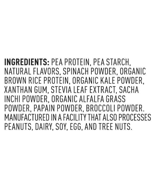 Ingredients panel of Vega Protein and greens showing black text on white background
