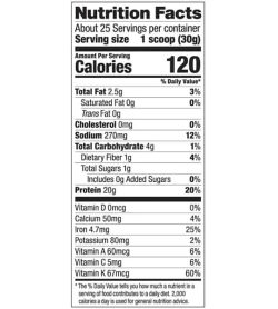 Nutrition facts panel of Vega Protein and greens for serving size 1 scoop (30 g) with about 25 servings per container