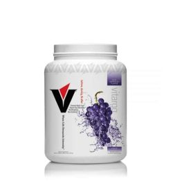 White and purple box with white cap of Vitargo 50 servings showing grapes picture on the package