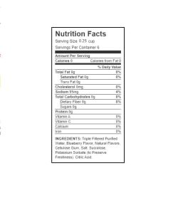 Nutrition facts and ingredients panel of Walden Farms Blueberry Syrup for serving size 0.25 cup with 6 servings per container