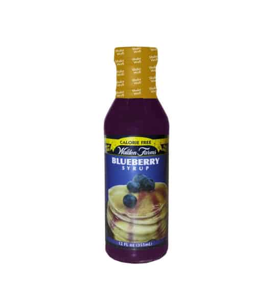 Purple bottle with yellow cap of Walden Farms Calorie free Blueberry Syrup shown in white background