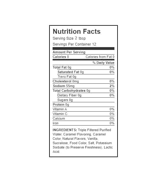 Nutrition facts and ingredients panel of Walden Farms Caramel Syrup for serving size 2 tbsp with 12 servings per container